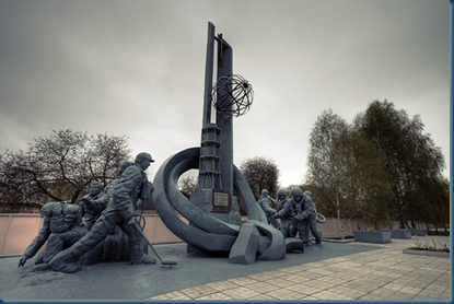 memorial to workers who died trying to contain the radiation