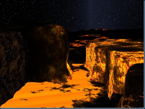 Imagined canyon on Planet Kelper 10b
