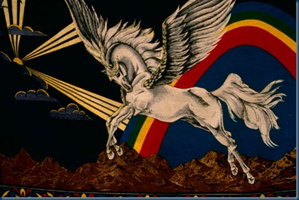 Mural of winged horse Pegasus