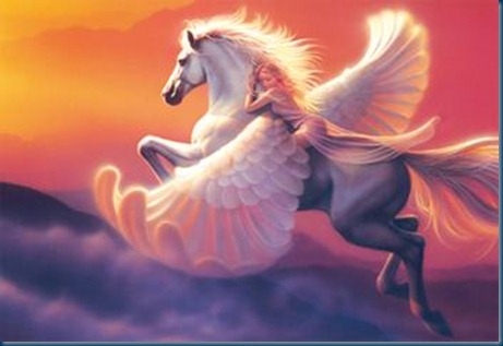 Pegasus and Eos the goddess of dawn