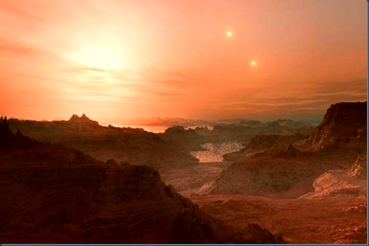 Double sunset from Gliese 667C