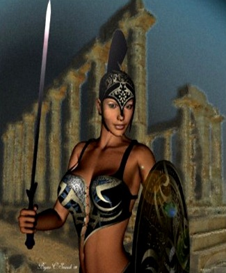 Helmeted Female Gladiator