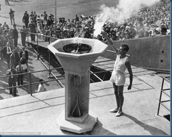 1948 Olympic Torch and Opening Ceremony_Lighting of the Cauldron