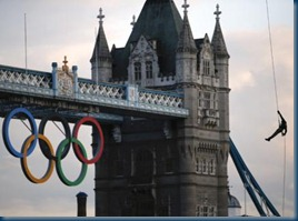 2012 Olympics rings and flame abseiling into Tower of London