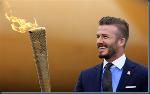 2012 Olympic torch and David Beckham