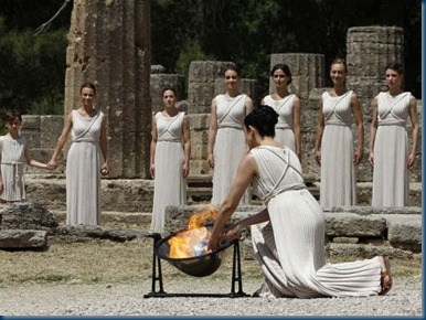 2012 Olympics torch lighting at site of ancient olympics