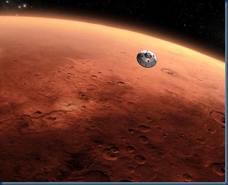 Curiosity in its disposable capsule heading for Mars_Google Images