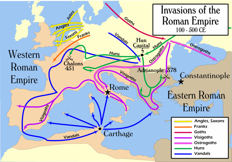 the influence of the barbarians over the eastern and western roman empires The weakened roman army could not cope with this threat by 476, the western roman empire had collapsed although a few rump states continue to exist and the eastern empire tried several times to reconquer the west, western europe was securely in the hands of the barbarians.