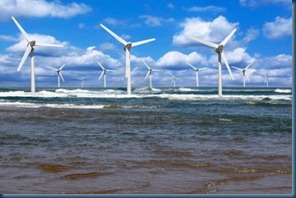 Several-offshore-wind-line-on-the-horizon-on-cloudy-sky-background