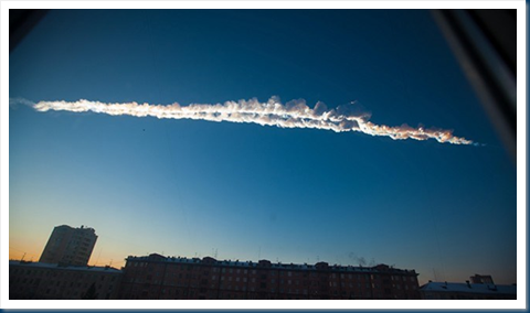 Image Credit: A meteorite contrail is seen over Chelyabinsk (AP)