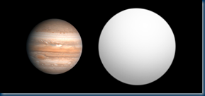 Jupiter and HD 189733 b size comparison