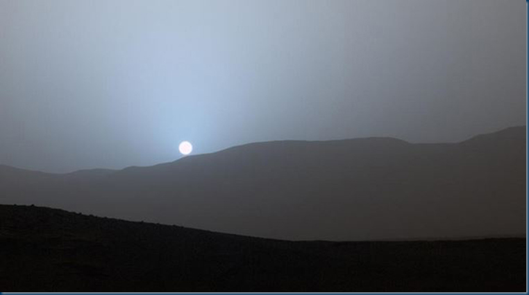 Sunset on Mars April 15 2015 Credit: NASA/JPL-Caltech/MSSS