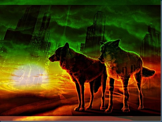Sunrise/Sunset Auroras lighting the Wolves of Mars